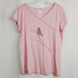 Life Is Good Tops - Life is Good Karma Pink Bird Branch Organic Shirt